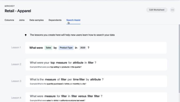 Search Assist und Search Assist Coach: In ThoughtSpot 6.3 ist neu, dass ein digitaler Assistent neue Benutzer Schritt-für-Schritt durch das Programm führt. Er passt sich den spezifischen Bedürfnissen des Anwenders an und vereinfacht so die Implementierung von ThoughtSpot. Als Search Assist Coach können geübte Analytiker Lektionen für neue Nutzer erstellen und so den Search Assist optimieren. Das hilft dabei, die ideale Frageformulierung zu finden, um die besten Ergebnisse zu erhalten.
