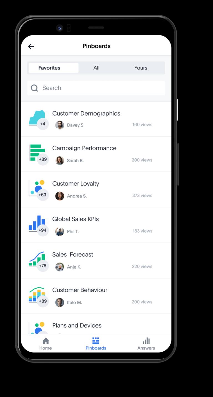 """Mobile: ThoughtSpot legt einen starken Fokus auf die Mobilität der Anwendung: """"Entscheidungen werden nicht immer vor dem Desktop getroffen"""". Mit der App für das Smartphone können immer und überall Analysen von ThoughtSpot eingesehen werden. Selbst offline kann der Nutzer auf die personalisierte Home Pinnwand zugreifen. Dieser kann Pinnwände als Favoriten auswählen und mit Drill-Down auf granuläre Details in den Darstellungen zoomen. Die App ist momentan für iOS und Android verfügbar."""
